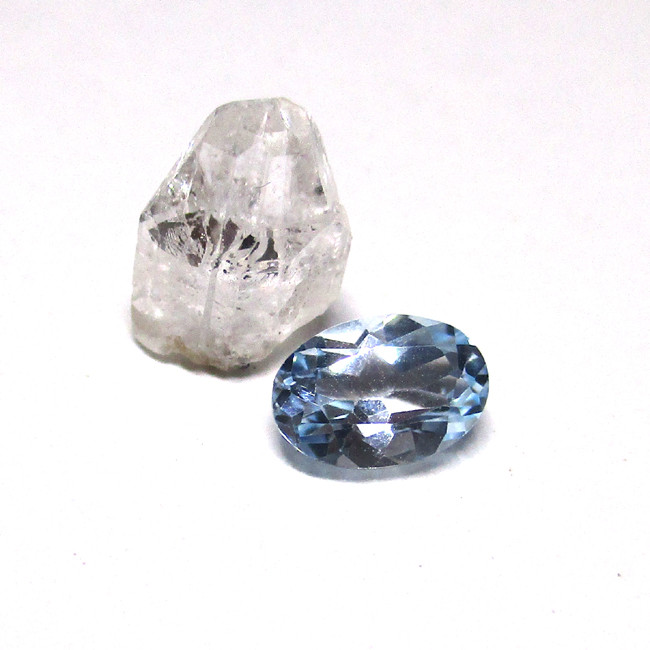 2.12tcw Before and After Sample Set of Topaz Crystal and Cut Oval