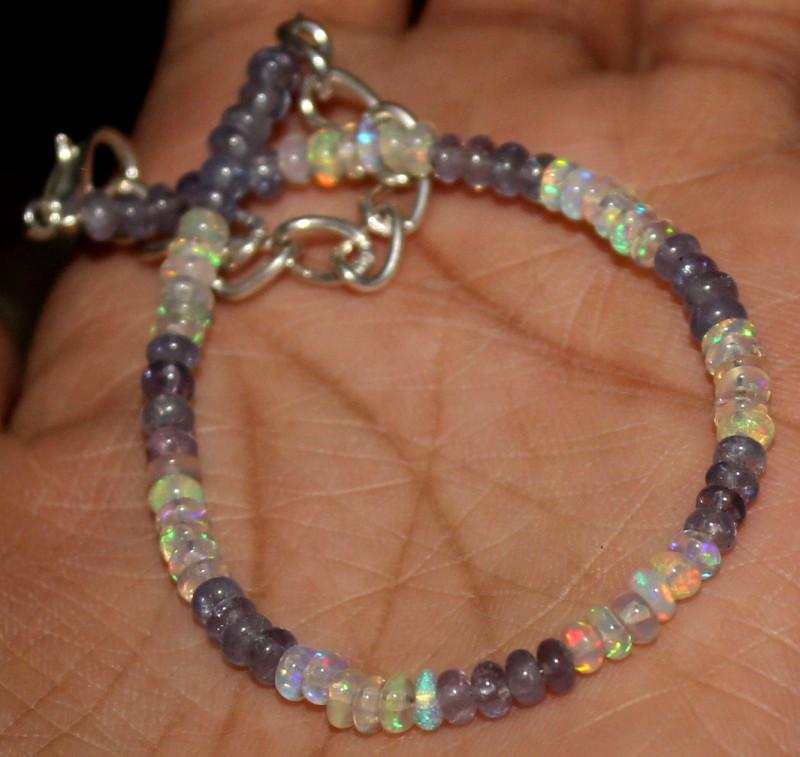 15 Crt Natural Ethiopian Welo Opal & Tanzanite Beads Bracelet 433
