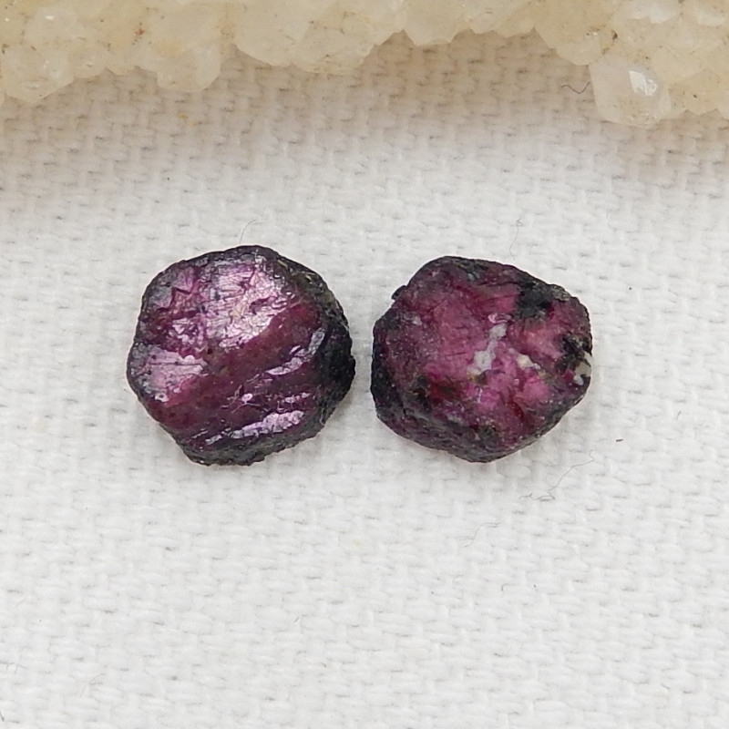 7Cts 2pcs Red Ruby Gemstones, Ruby Cabochons, Ruby Slices, Rose Cut Slices