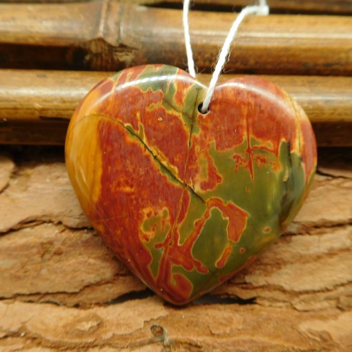 Multi picasso jasper heart shape pendant (G0812)