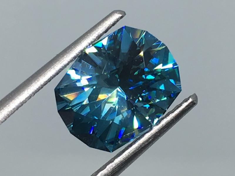 3.41 Carat VVS Zircon Caribbean Blue Master Cut Simply Divine !
