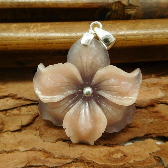 Natural gemstone flower intarsia s925 silver (B1361)