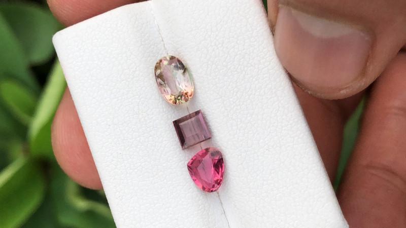 2.10 Ct Natural Bi Color & Pinkish Transparent Tourmaline Gems 3 Pieces