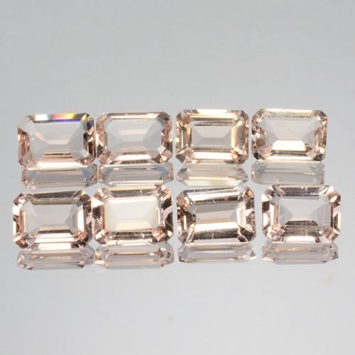 9.97 Cts Natural Peach Pink Morganite 8x6mm Octagon 8Pcs Brazil