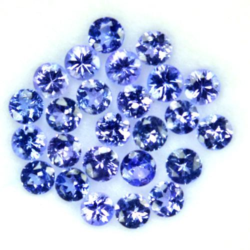 2.32 Cts Natural Purple Blue Tanzanite 3mm Round 25Pcs Tanzania