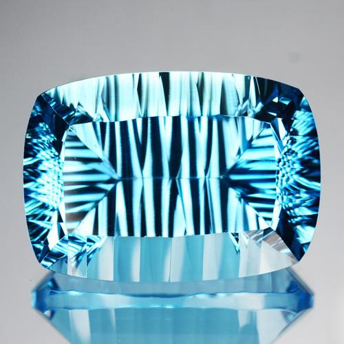 ~AMAZING~ 37.18 Cts Natural Sky Blue Topaz Cushion Concave Cut Brazil