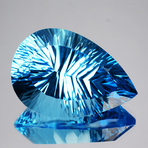 ~FLAWLESS~ 35.10 Cts Natural Sky Blue Topaz Pear Concave Cut Brazil