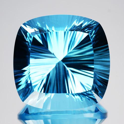 ~FABULOUS~ 54.08 Cts Natural Sky Blue Topaz 21mm  Cushion Concave Cut Brazi