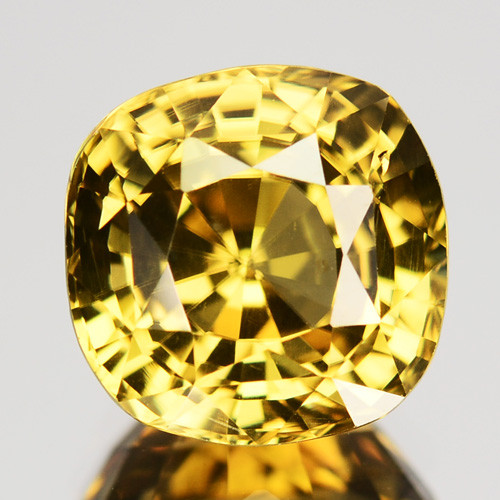 3.68 Cts Natural Lime Green Zircon Cushion Cut Tanzania