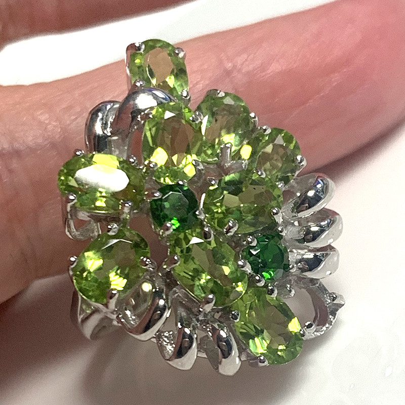 MOST BEAUTIFUL LARGE PERIDOT CHROME DIOPSIDE STERLING SILVER RING SIZE 9.5