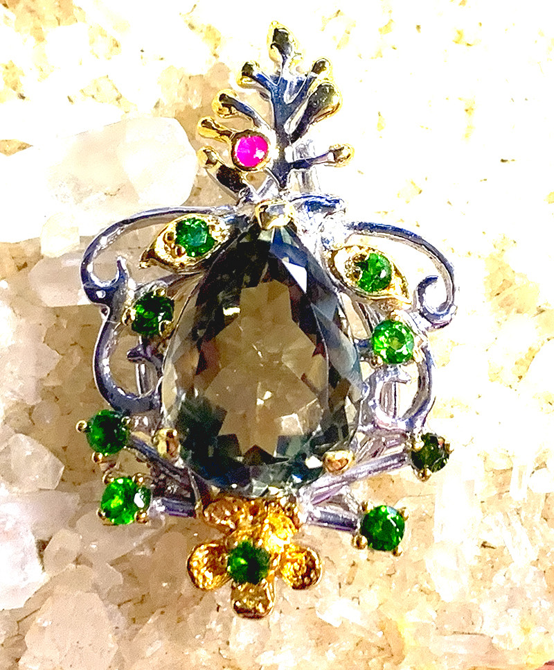 ⭐ Green Amethyst Diopside Sapphire Pendant 14kt Gold over Sterling Silver
