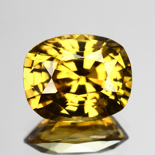 3.47 Cts Natural Yellow Zircon Cushion Cut Tanzania