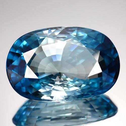 ~WORLD RARE~ 49.72 Cts Natural Blue Zircon Oval Fancy Cambodia Gem