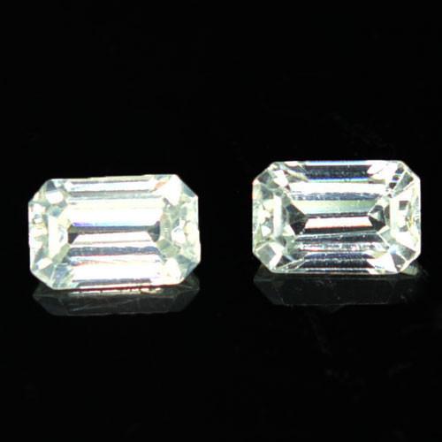 2.83 Cts Natural Sparkling White Zircon 2Pcs Octagon Cut Tanzania