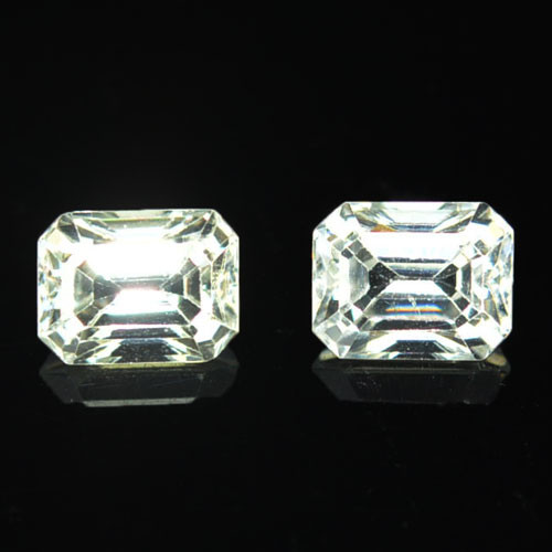 3.85 Cts Natural Sparkling White Zircon 2Pcs Octagon Cut Tanzania