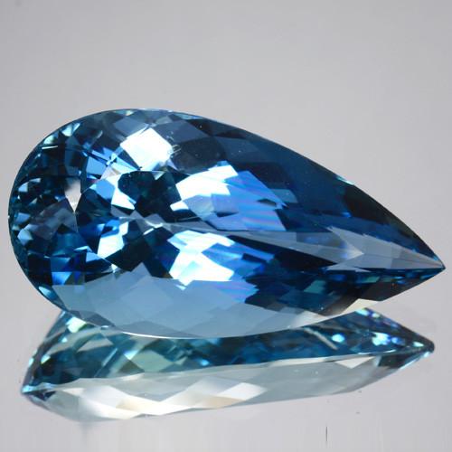 ~COLLECTIBLE~ 23.73 Cts Natural Rare Santa maria Blue Aquamarine Pear Cut B