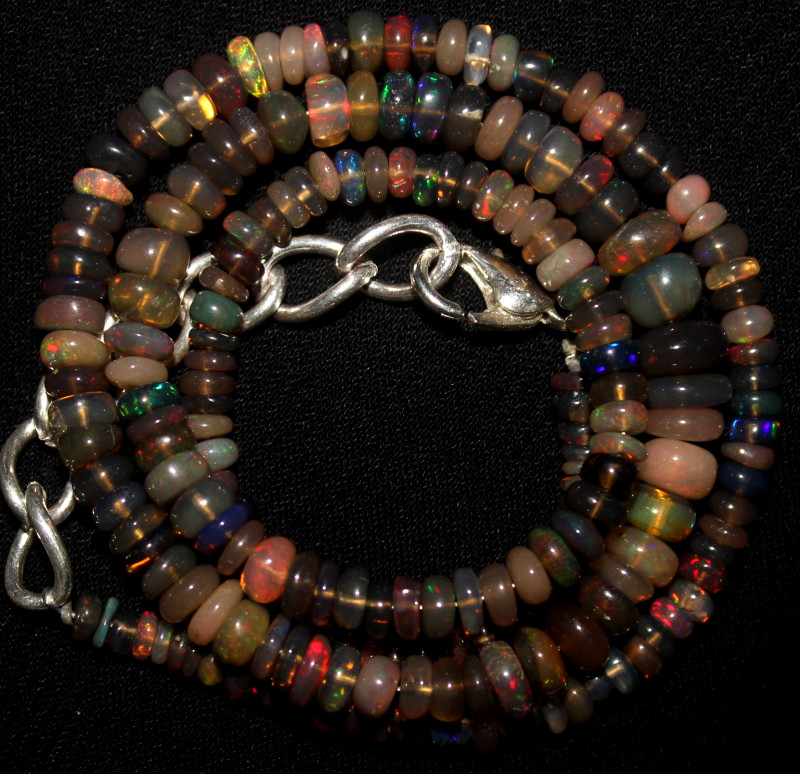 42 Crt Natural Ethiopian Welo Smoked Opal Beads Necklace 150