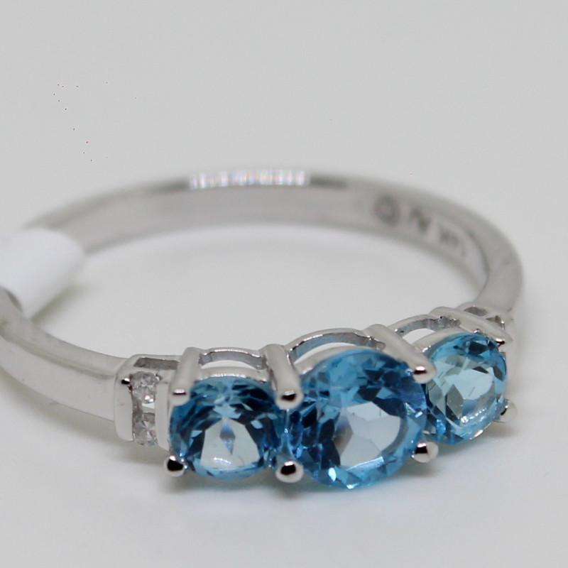 (B3)Dazzling $1000 Nat. 0.75 ct Blue Topaz & Diamond Ring 10K YG 2.3gr