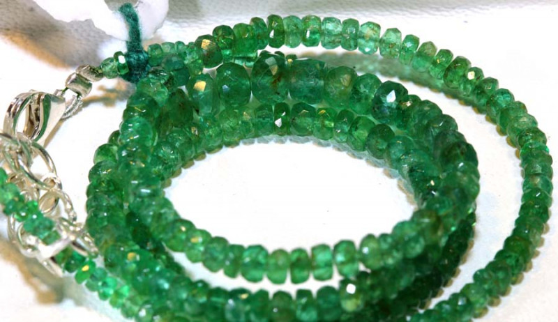 48.40- 16 INCH  CTS EMERALD BEADS STRAND PG-2593