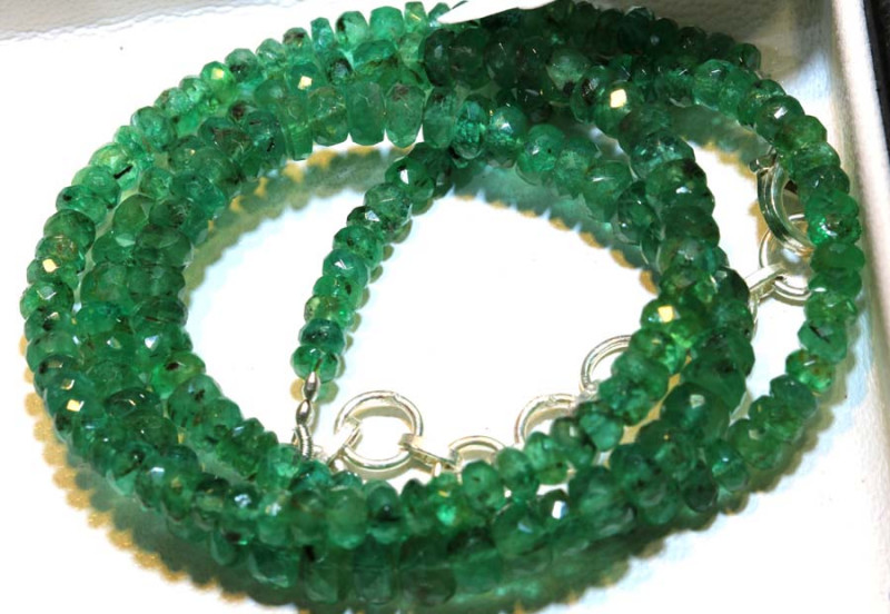 60.55- CTS 16 INCH- EMERALD BEADS STRAND PG-2597