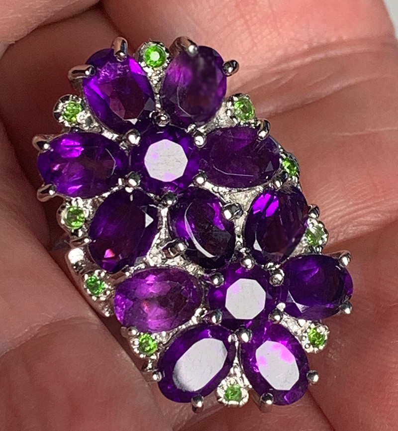 LARGE AMETHYST CHROME DIOPSIDE STERLING SILVER RING SIZE 9