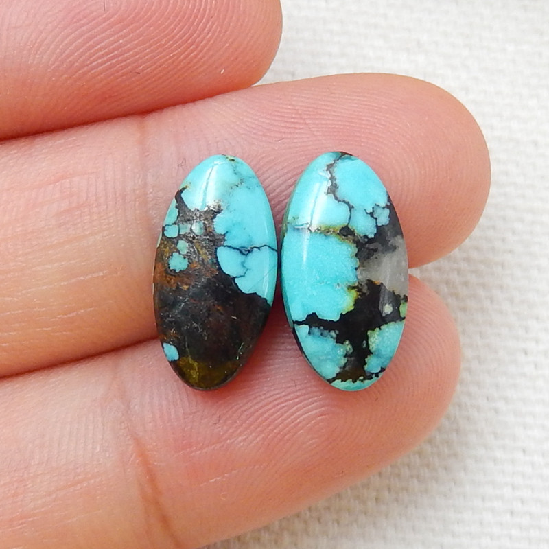 Natural Turquoise Flatback Oval Gemstone Cabochon pair H7647