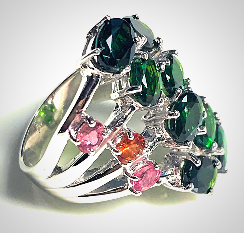 Superb Chrome Diopside Tourmaline Ring Size 8 64.50cts