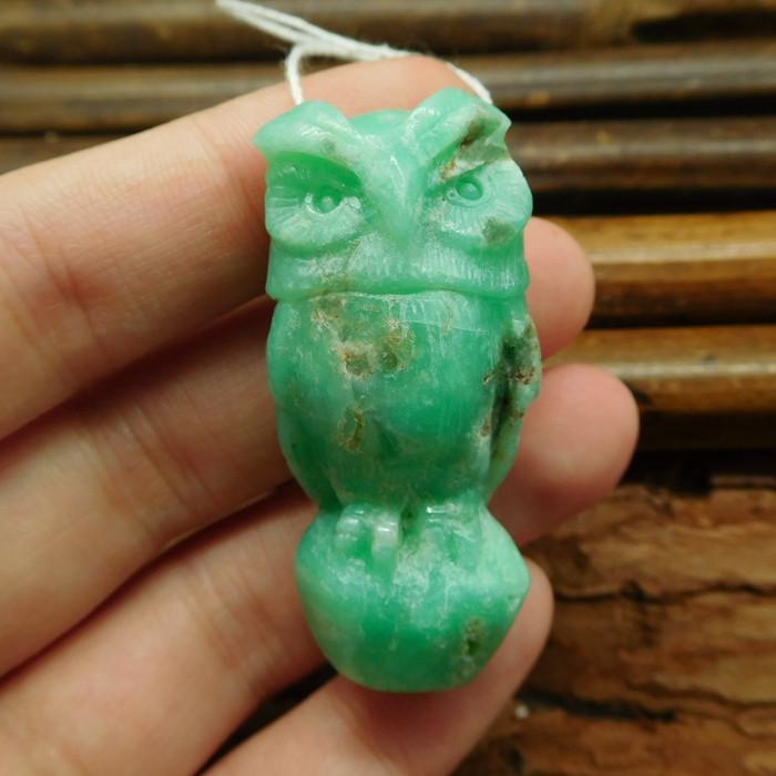 Tiny owl carving pendant animal craft (G0898)