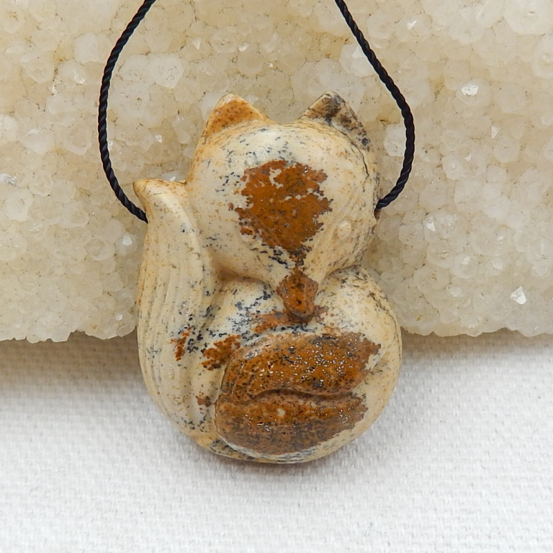Fox Pendant,51.5Cts Natural Picture Jasper Carved Fox Animal Necklace Penda