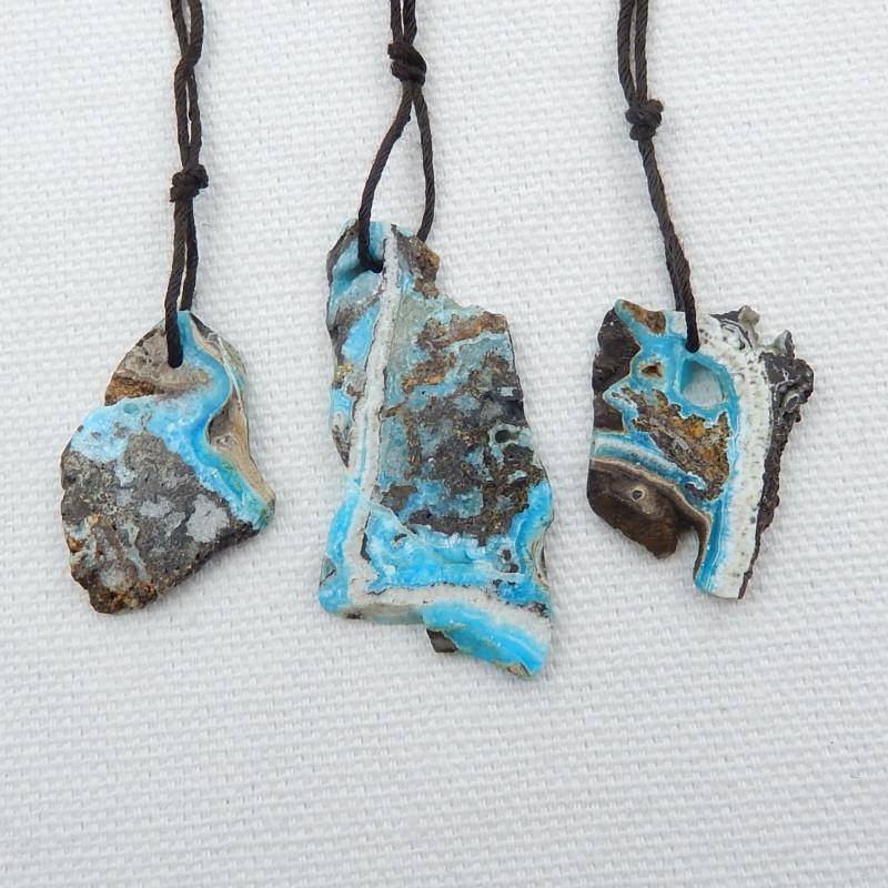 3pcs Hemimorphite Pendant Turquoise Pendant Beads ,Lucky Stone D464