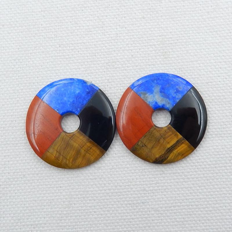 2pcs tiger eyes,lapis lazuli,red river jasper,obsidian earring pair D470