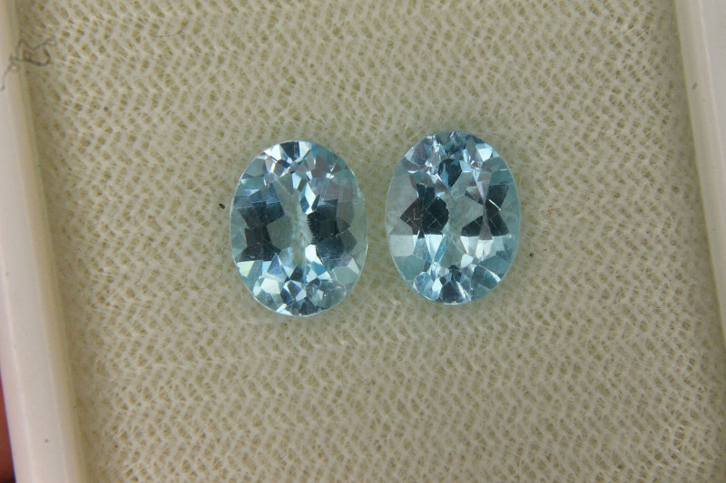 Pair Of Swiss Blue Topaz For Collector's Gem