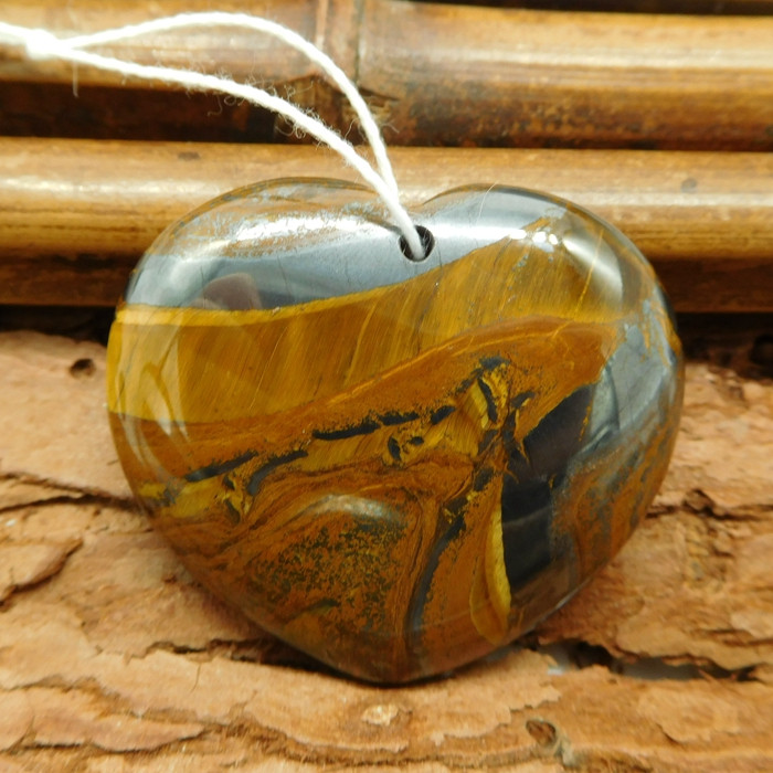Natural iron tiger eye heart shape pendant (G0919)