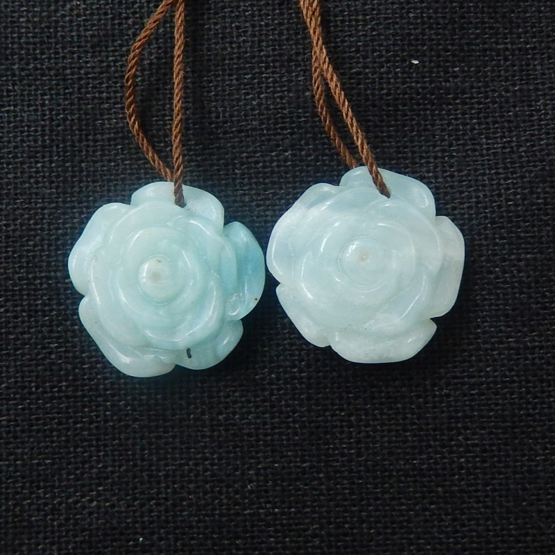 41cts Gemstone Carved Flower Show - Amazonite Flower Beads D616