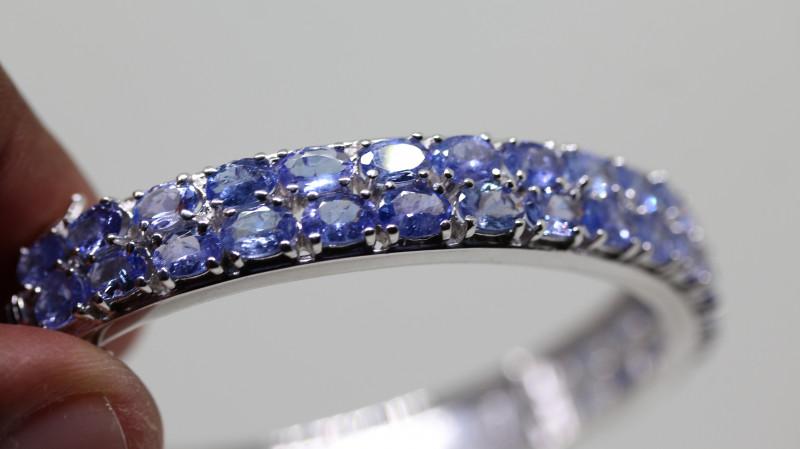 Stunning Nat 120 tcw. Top Violet Blue Tanzanite  Bangle