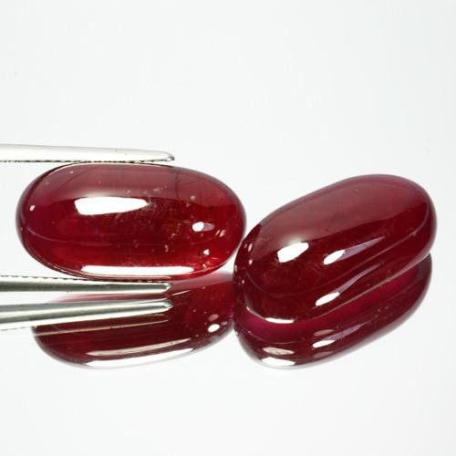 40.51 Cts Natural Rare Red Ruby Cushion Cabochan Pair Mozambique Gem