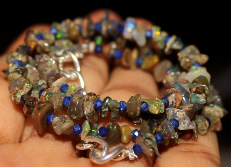35 Crt Natural Ethiopian Welo Smoked Uncut Opal & Lapis Lazuli Beads 17