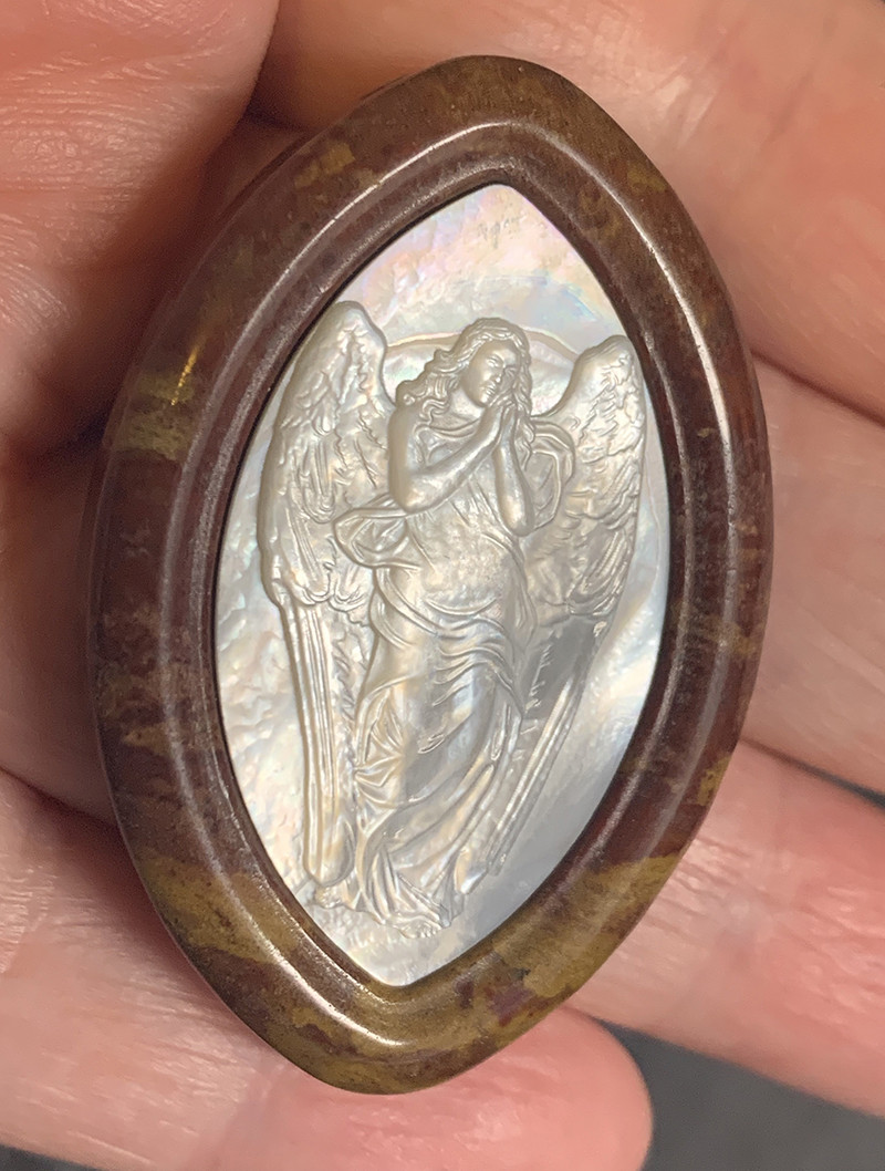 Mother of Pearl Angel Carved Cameo Shell in Jasper 105.00cts