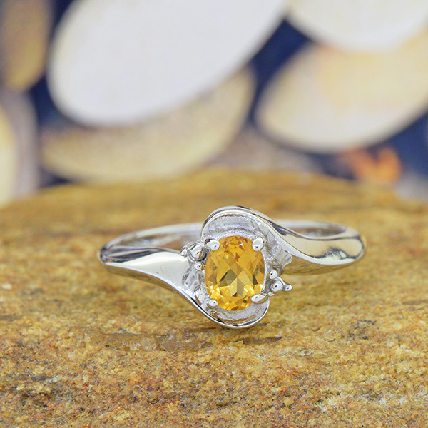 Natural Citrine 925 Sterling Silver Ring (SSR0549)