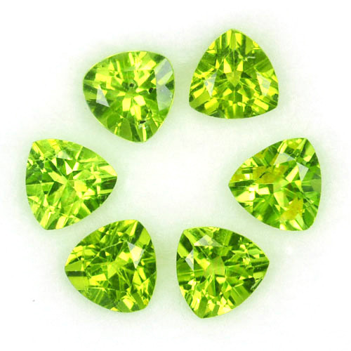 4.62  Cts Natural Parrot Green Peridot 6mm Trillion 6 Pcs Pakistan