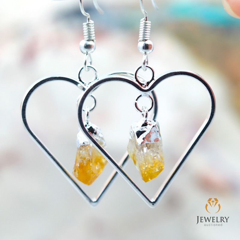 Terminated Point beautiful Citrine gemstone Heart shape earrings BR 199