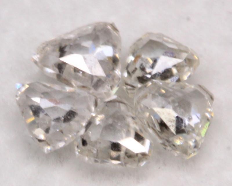 0.66Ct Natural Trillion Rose Cut Fancy White Diamond BM120