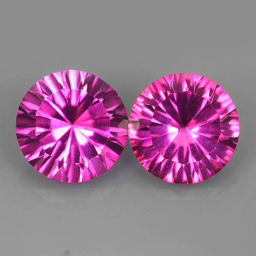4.50 CTS WONDERFUL COLOR 8.05 MM ROUND CONCAVE ~CUT PINK TOPAZ 2 PCS NR!!