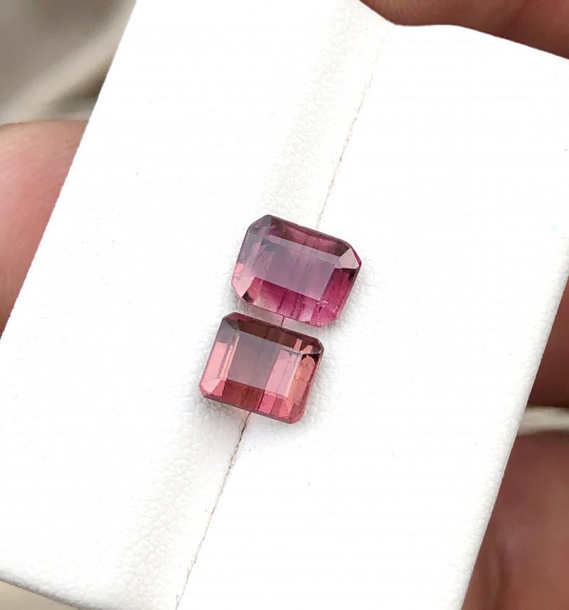 2.75 Ct Natural Reddish Transparent Rubellite Tourmaline Gems Pairs