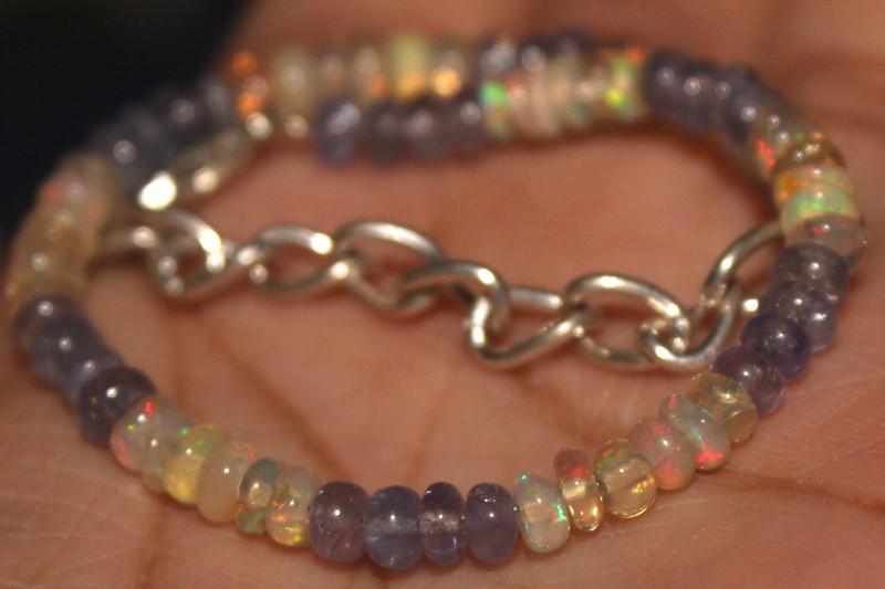 19 Crts Natural Opal & Tanzanite Beads Bracelet 665