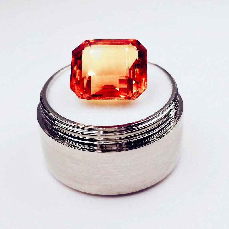 Natural 11 Ct. Brazilian Faceted Fire Orange Citrine Gemstone