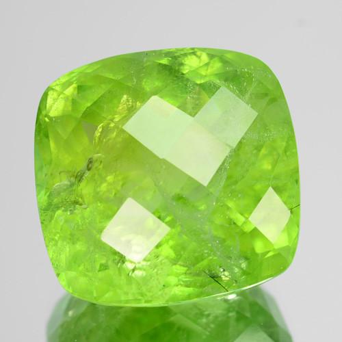 15.02 Cts Natural Green Peridot 14 mm Cushion Checkerboard Cut Pakistan