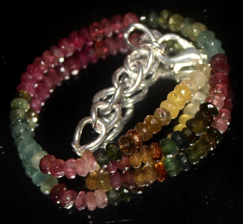 25 Crts Natural Multi Tourmaline Faceted Beads Bracelet 740