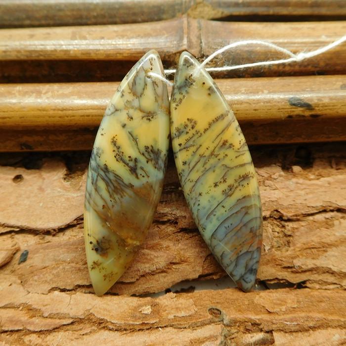 Natural dendritic opal earring bead (G1014)
