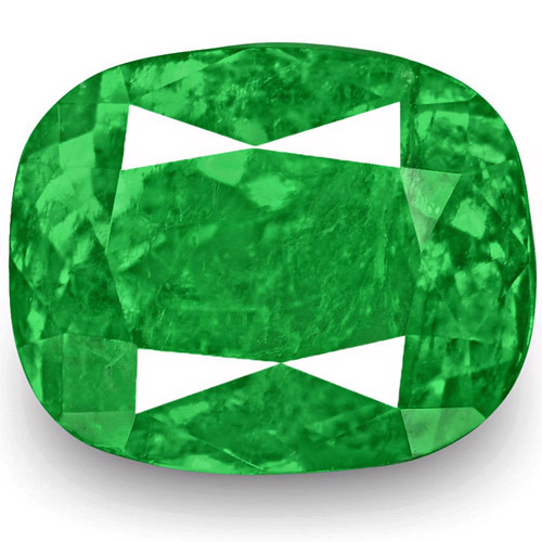 Colombia Emerald, 3.25 Carats, Lively Intense Green Cushion